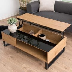 Table basse Izzy 110cm - chêne/noir