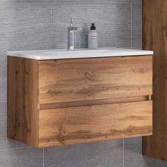 Meuble lavabo Brama 100cm 2 tiroirs - chêne wotan