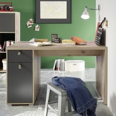Bureau Moleskin 130cm avec 1 porte & 1 tiroir - anthracite/ancien style