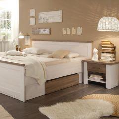 Lit Larnaca 180x200 à 2 tiroirs & 2 tables de chevet - blanc