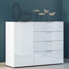 Bahut Dudek 134cm avec 4 tiroirs & 1 porte - blanc