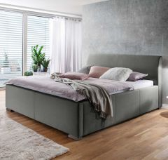 Lit Homera avec tête de lit lisse 160x200 - gris clair