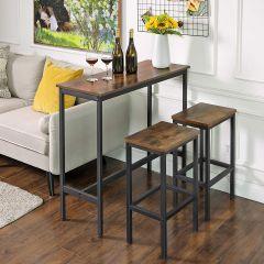 Table de bar Isolde 100x40 industriel - brun/noir