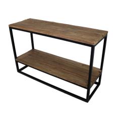 Table d'appoint Dens 120x40 avec tablette - bois/fer