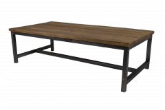 Table basse - 120x60 cm - naturel / noir - teck / fer