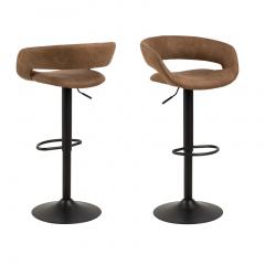 Jeu de 2 chaises de bar Dusty - brun/noir