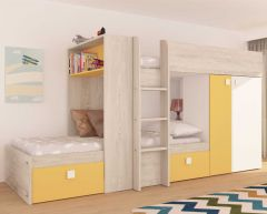 Lit superposé Beau avec armoire & tiroirs - pin/jaune