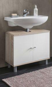 Meuble sous lavabo Benja 2 portes - blanc/chêne