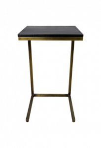 Table d'appoint Finnley - lavis noir / or antique - bois de manguier / fer