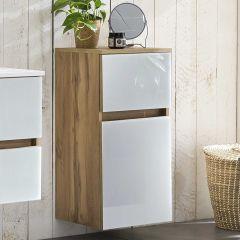 Armoire salle de bains Helina 40cm 1 porte & 1 tiroir - chêne/blanc