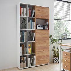 Bibliothèque & armoire de rangement Lloris avec 2 portes - blanc/chêne