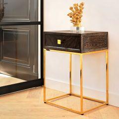 Table de chevet Bony 50cm 1 tiroir - noir/or