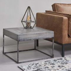Table d'angle 60x60 grado - Massif mango antique gris