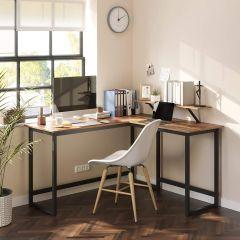 Bureau d'angle Spencer 140cm avec support écran - brun rustique/noir