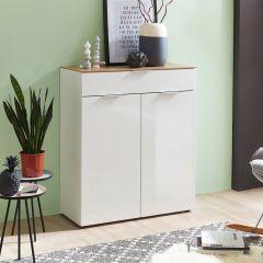 Commode Ceras 90cm avec 2 portes & 1 tiroir - blanc/chêne