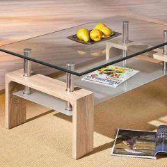 Table basse Alana panneau de particules/verre - sonoma clair