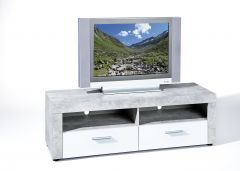 Meuble tv Béton 134cm - béton/blanc