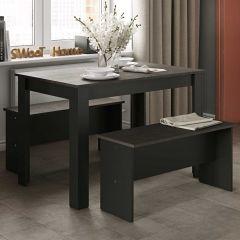 Table à manger Nice avec bancs - noir/béton