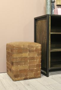 Repose-pied Patchwork - 33x33 cm - cuir - cognac vintage