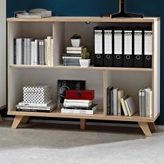 Bibliothèque Ousmane 120cm avec 4 espaces de rangement - blanc/chêne
