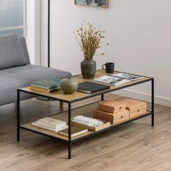 Table basse Dover 120x60 industriel - noir/chêne sauvage