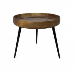 Table d'appoint Ventura - ø50 cm - bois de manguier / fer - naturel