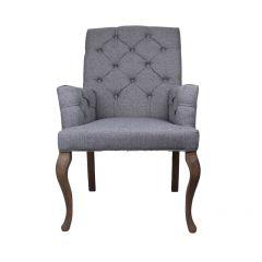 Chaise de salle à manger avec accoudoir Brighton - gris clair