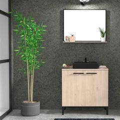 Armoire salle de bains Dotan à 2 portes & miroir  - chêne