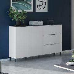 Bahut Karsten bas 151 cm - blanc/marbre