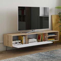 Meuble TV Jiro 165cm - chêne/blanc
