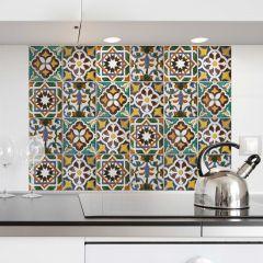Sticker mural Carreaux verts revêtement mural pour cuisine