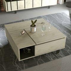 Table basse Rufus relevante 90x90 - chêne