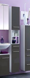Colonne salle de bains Small 25cm 1 tiroir & 2 portes - gris brillant