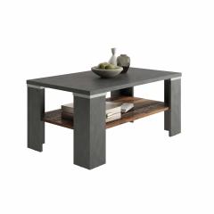 Table basse Bastille 100x60 avec étagère - anthracite/brun