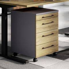 Caisson à tiroirs Presley - chêne/graphite