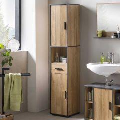 Colonne salle de bains Ariadna 2 portes & 1 tiroir - chêne vieilli/gris graphite