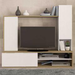 Meuble tv Boaz 180cm - chêne/blanc