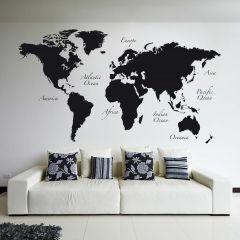 Sticker mural géant Black World Map