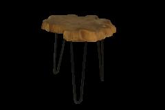 Table basse avec pieds en épingle à cheveux - fer / teak