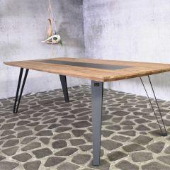 Table de jardin Artan 240x100 - brun/noir