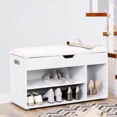 Banc à chaussures avec assise capitonnée Fiora - blanc