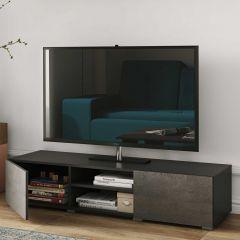 Meuble TV Podium 140 cm - noir/béton