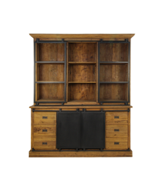 Armoire vitrée Blackburn 180cm 2 portes & 6 tiroirs - teck