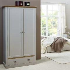 Garde-robe Silia 104cm avec 2 portes & tiroir - gris/naturel