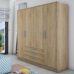Armoire Ramos 4 portes & 3 tiroirs - chêne