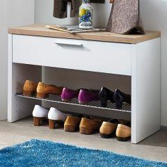 Armoire à chaussures Tosun 1 tiroir - blanc/chêne