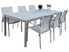 Table de jardin Albany 160x90 - argent/gris