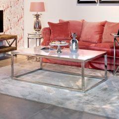 Table basse Levanto 130x80cm - argent/blanc