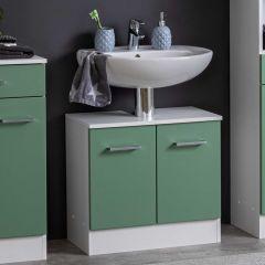 Meuble sous lavabo Ricca 60cm 2 portes - blanc/vert
