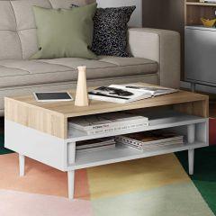 Table basse Horizon - chêne/blanc